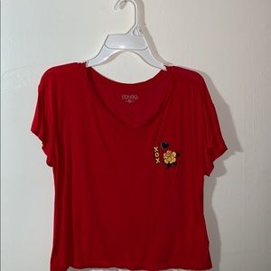red tee-shirt with yellow and green rose